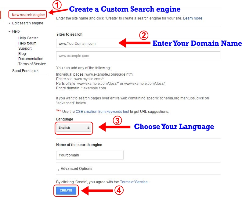 How to Create Custom Search Engine Step 2