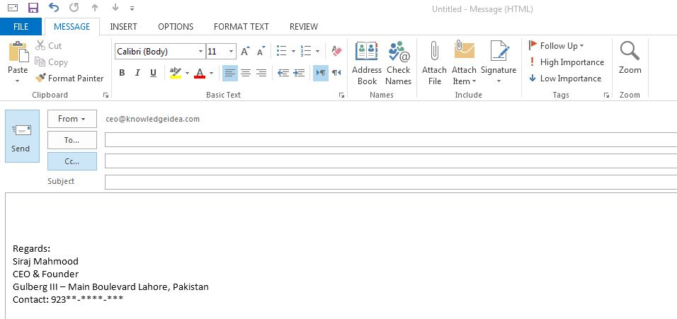 How to Create and add an Email Message Signature in Outlook step 5