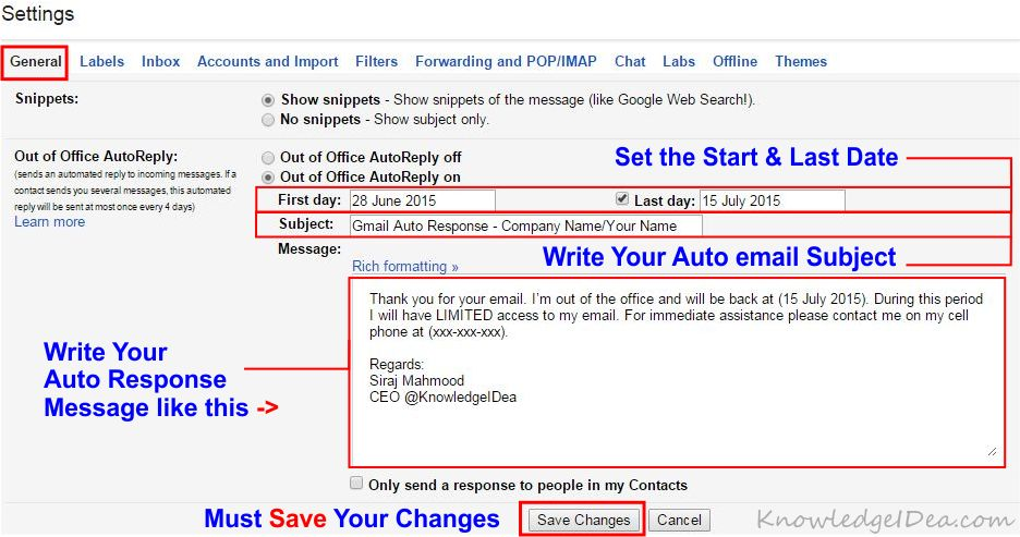 How To Setup Auto Reply in Gmail step 2