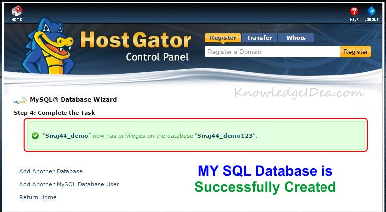 How to Create MYSQL Database Using cPanel step 5