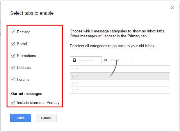 How to Enable and Disable Gmail New Inbox Tabs step 3