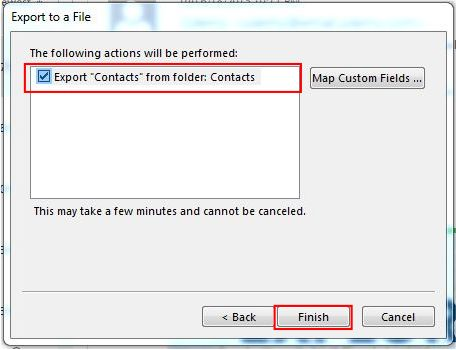 How to Export Outlook Contacts to Excel step 6