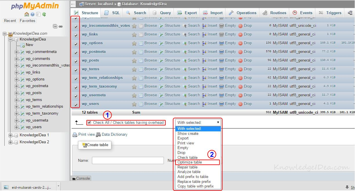 How to Optimize MYSQL Database Using PhpMyAdmin step 3