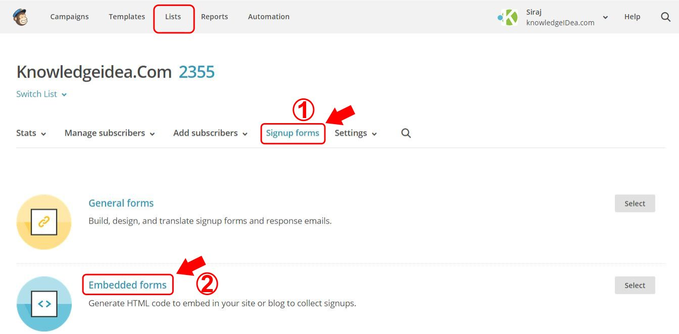 How to Add MailChimp Subscription Box on Your Website step 3