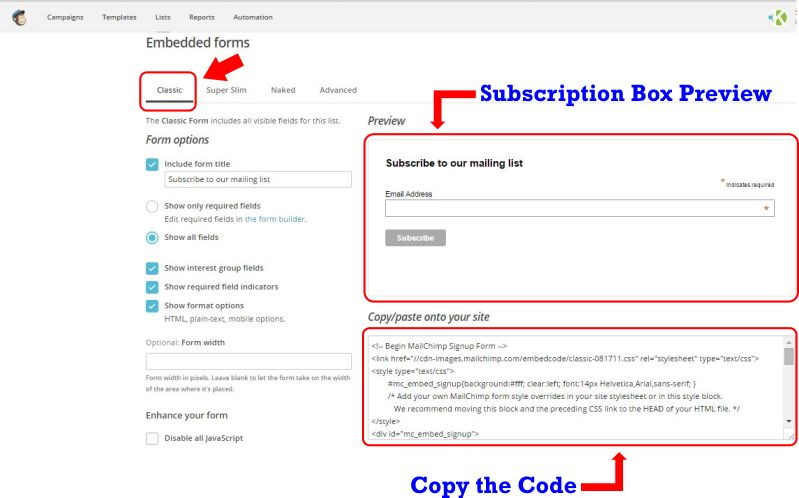 How to Add MailChimp Subscription Box on Your Website step 4