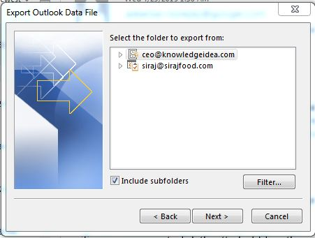 How to Take Backup Microsoft Outlook Step 5