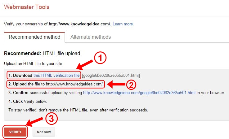 How to Verify Site Ownership on Google Webmaster Tools step 3