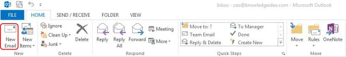 How to Create and add an Email Message Signature in Outlook step 1