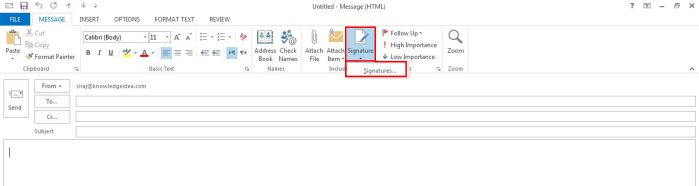 How to Create and add an Email Message Signature in Outlook step 2