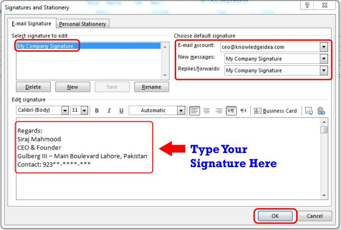 How to Create and add an Email Message Signature in Outlook step 4