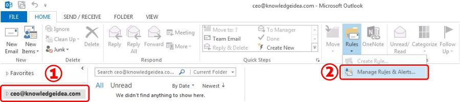 How To Redirect Outlook Emails To Another Email Address step 1
