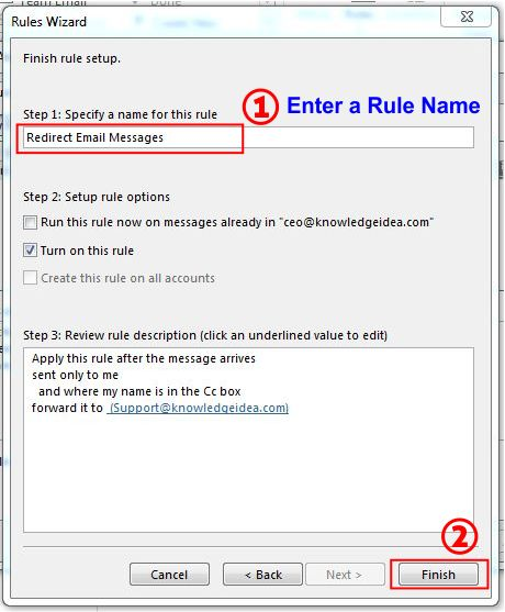How To Redirect Outlook Emails To Another Email Address step 8