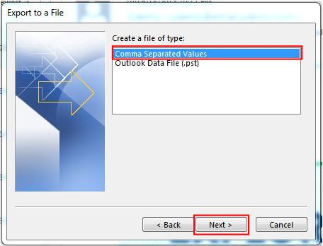 How to Export Outlook Contacts to Excel step 3